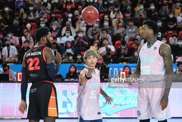 Singer gboyswag opens for the P.League+ game between Taipei Fubon Braves and Hsinchu Jko Lioneers at the Taipei Heping Basketball Gymnasium on March...