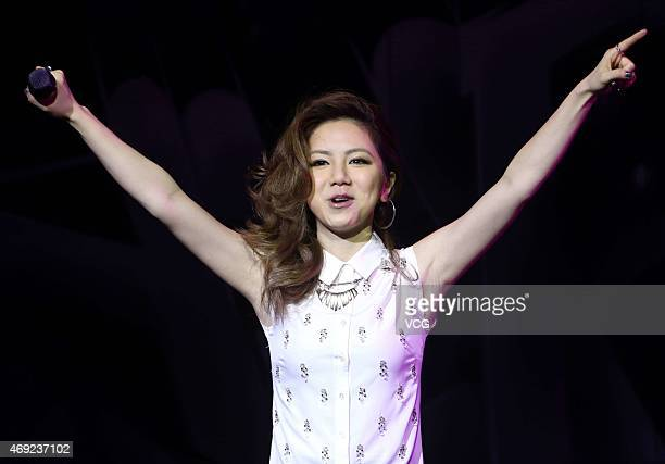 Singer G.E.M attends a press conference of TAG Heuer on April 10, 2015 in Shanghai, China.