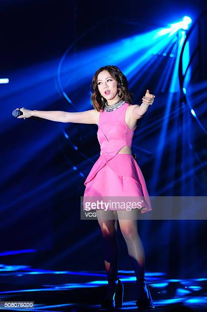 Singer G.E.M. Tang Tsz-Kei performs onstage during the annual meeting of L'Oreal on February 2, 2016 in Shanghai, China.