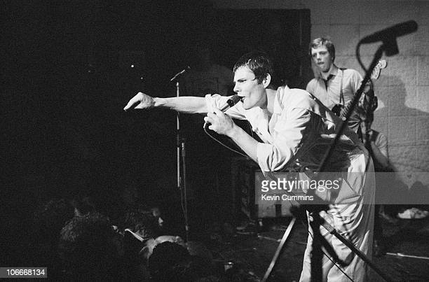 Singer Gene October of English punk rock band Chelsea performs at the Electric Circus in Manchester 7th August 1977
