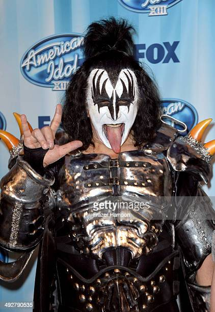 Singer Gene Simmons of Kiss poses in the press room during Fox's 'American Idol' XIII Finale at Nokia Theatre LA Live on May 21 2014 in Los Angeles...