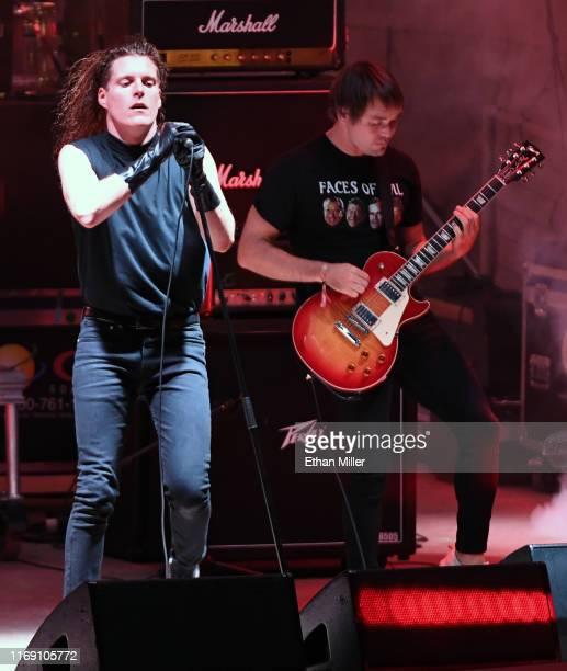 Singer George Clarke and guitarist Kerry McCoy of Deafheaven perform during Psycho Las Vegas at the Mandalay Bay Beach at Mandalay Bay Resort and...