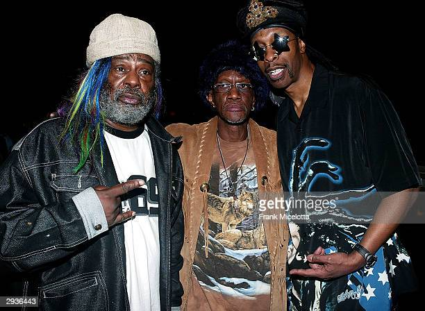 Singer George Clinton keyboardist Bernie Worrell and bassist Bootsy Collins of Parliament Funkadelic pose during rehearsals for their performance at...