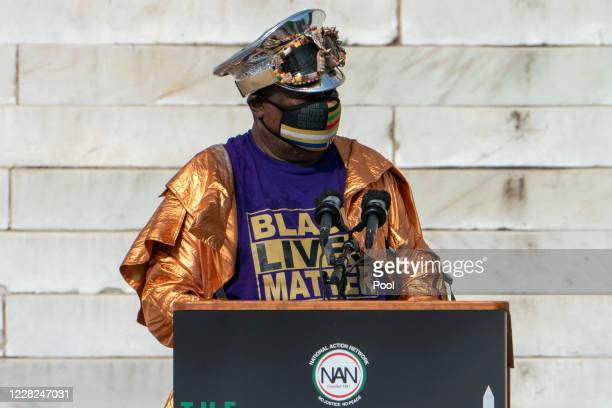 Singer George Clinton, of Parliament Funkadelic, speaks during the March on Washington at the Lincoln Memorial on August 28, 2020 in Washington....