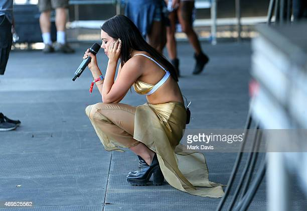 Singer George Maple performs with What So Not onstage during day 3 of the 2015 Coachella Valley Music Arts Festival at the Empire Polo Club on April...