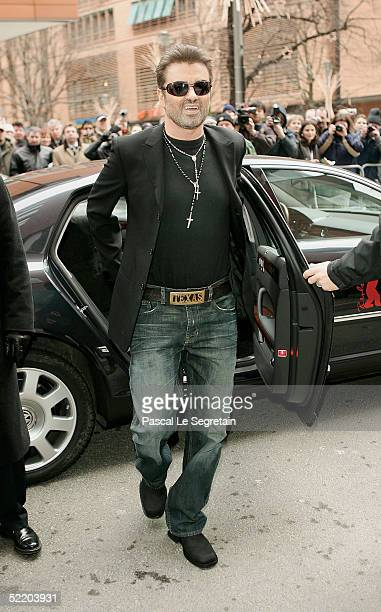 Singer George Michael arrives at the Hyatt Hotel for the 'George Michael A Different Story' Press Conference during the 55th annual Berlinale...