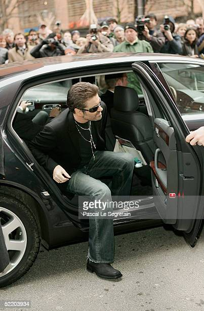 Singer George Michael arrives at the Hyatt Hotel for the George Michael A Different Story Press Conference during the 55th annual Berlinale...