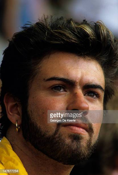 Singer George Michael attends the Live Aid concert at Wembley Stadium in London 13th July 1985 The concert raised funds for famine relief in Ethiopia