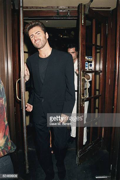 Singer George Michael leaves Lanagan's restaurant on July 9 1992 in London