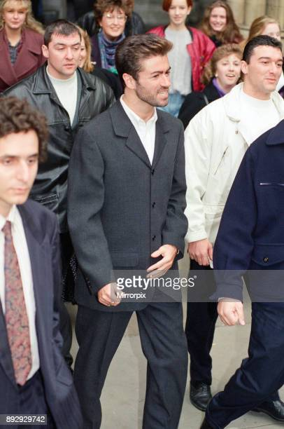 Singer George Michael leaving the High Court after the law suit against Sony 1st November 1993