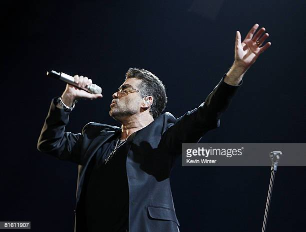 Singer George Michael performs at the Sports Arena on June 17 2008 in San Diego California