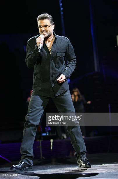 Singer George Michael performs onstage during the 2008 '25 Live' tour held at the Forum on June 25 2008 in Los Angeles California