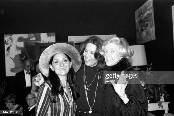 Singer Georgia Brown Actress Diana Rigg and Actress Elaine Stritch at a party for Gingerbread Lady in November 1974