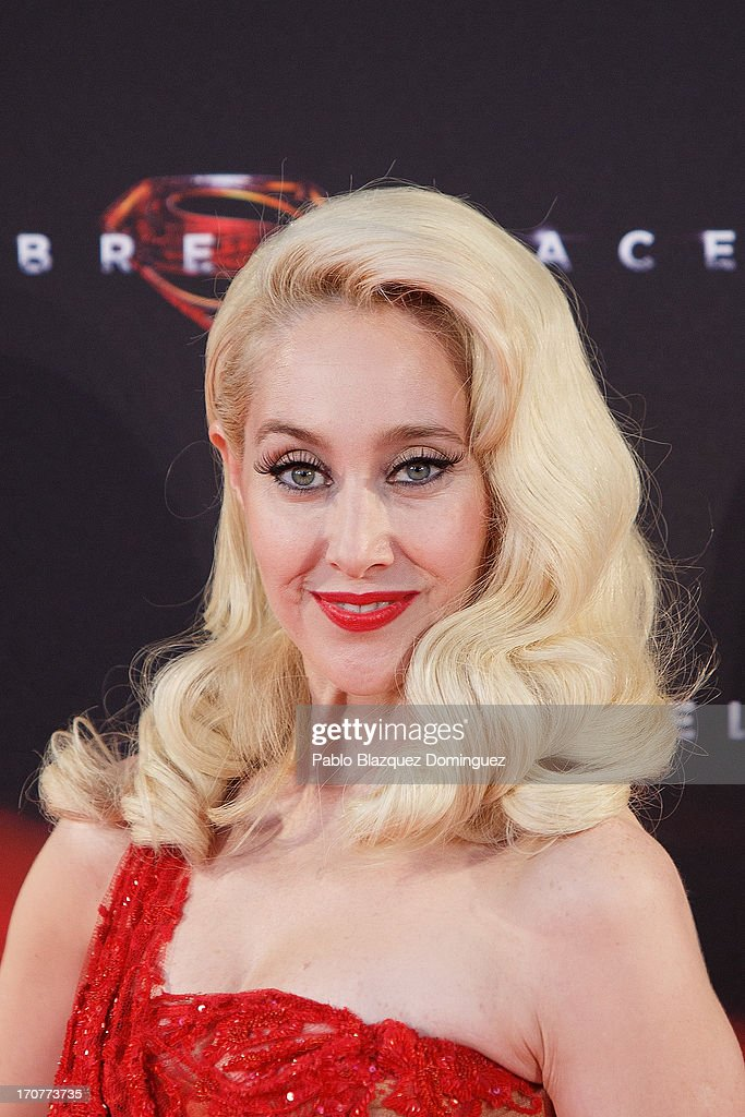 Singer Geraldine Larrosa of 'Innocence' band attends the 'Man of Steel' (El Hombre de Acero) premiere at the Capitol cinema on June 17, 2013 in Madrid, Spain.