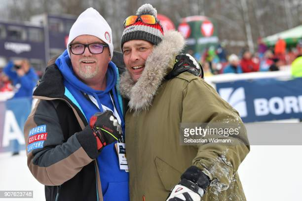 Singer Gerhard Friedle better known as DJ Oetzi and Gregor Bloeb pose for a picture during the KitzCharityTrophy on January 20, 2018 in Kitzbuehel,...