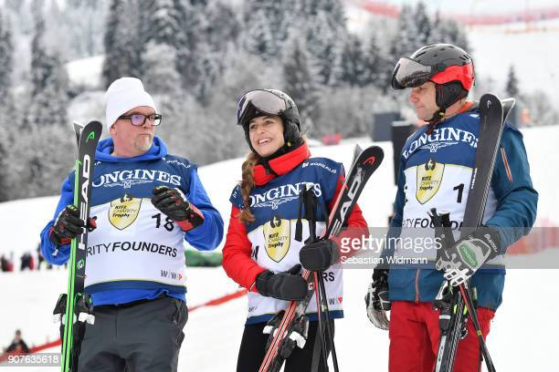 Singer Gerhard Friedle better known as DJ Oetzi Helene Berger and Roland Berger pose for a picture during the victory ceremony of the...