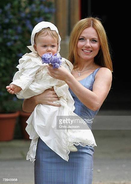 Singer Geri Halliwell poses with her daughter Bluebell Madonna as they arrive for Bluebell's christening at St Michael's church in Highgate on April...