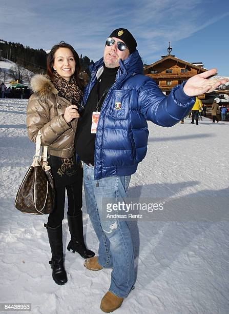 Singer Gerry Friedle who goes by the artist's name DJ Oetzi with his wife Sonja Friedle attend the Hahnenkamm Race weekend on January 24 2009 in...