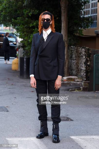 Singer Ghali is seen arriving at the Aniye By fashion show at Magazzini Generali on June 22 2020 in Milan Italy