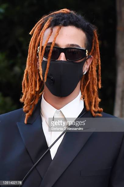 Singer Ghali is seen arriving at the Aniye By fashion show at Magazzini Generali on June 22, 2020 in Milan, Italy.