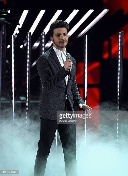 Singer Gianluca Ginoble of Il Volo performs onstage during the 16th Latin GRAMMY Awards at the MGM Grand Garden Arena on November 19 2015 in Las...