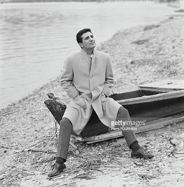 Singer Gilbert Becaud on Banks of Rhone River 1st February 1965
