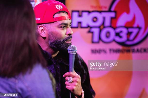 B singer Ginuwine gives an interview to onair personality Bre at the Hot 1037 Studio on January 17 2019 in Seattle Washington