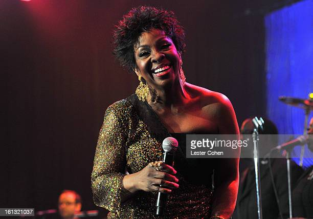 Singer Gladys Knight performs onstage at the 55th Annual GRAMMY Awards PreGRAMMY Gala and Salute to Industry Icons honoring LA Reid held at The...