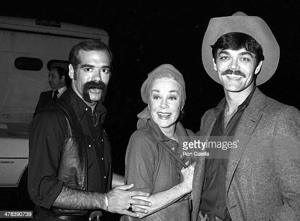 Singer Glenn Hughes of the Village People actress June Havoc and singer Randy Jones of the Village People attend the Billboard's International Disco...