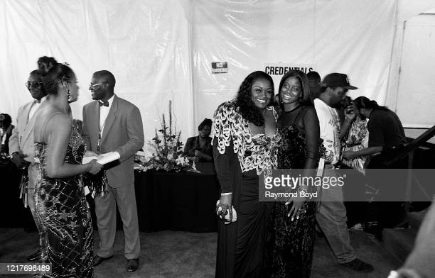 Singer Glodean White exwife of singer Barry White poses for photos with their daughter Shaherah on the red carpet at the Shrine Auditorium in Los...