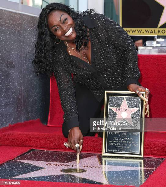 Singer Glodean White poses for a photo as the late Barry White was honored posthumously with a star on the Hollywood Walk of Fame on September 12...