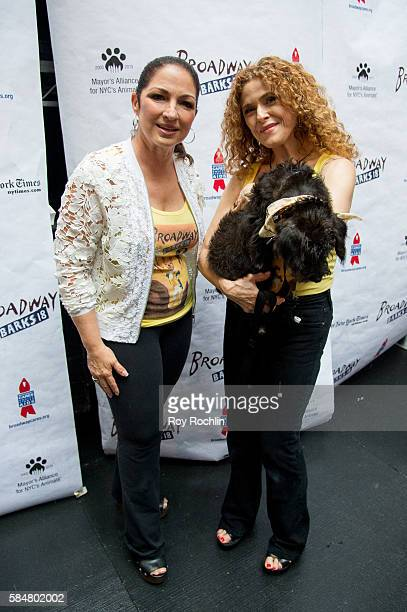 Singer Gloria Estefan and actress Bernadette Peters attends 18th Annual Broadway Barks at Shubert Alley on July 30 2016 in New York City