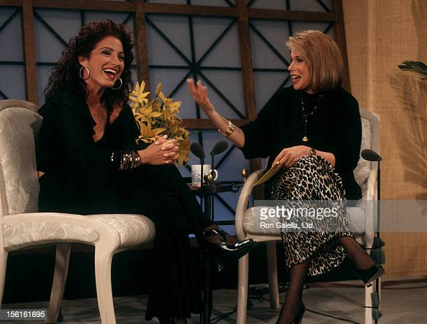Singer Gloria Estefan and Joan Rivers attending the taping of 'The Joan Rivers Show' on July 27 1993 at CBS Broadcast Center in New York City New York