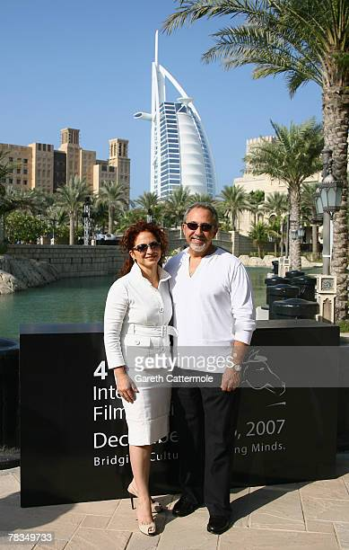 Singer Gloria Estefan and producer Emilio Estefan attend a photocall for the movie '90 Millas' during day two of the 4th Dubai International Film...