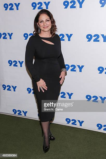 Singer Gloria Estefan attends Gloria and Emilio Estefan In Conversation with Rita Moreno held at the 92nd Street Y on October 19 2015 in New York City