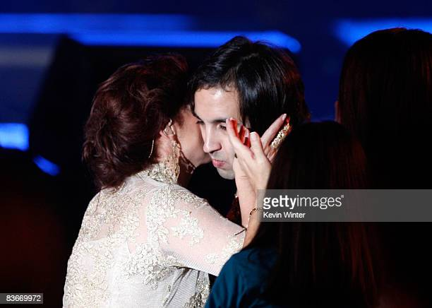 Singer Gloria Estefan embraces her son Nayib onstage during the 2008 Latin Recording Academy Person of the Year awards tribute to Gloria Estefan held...