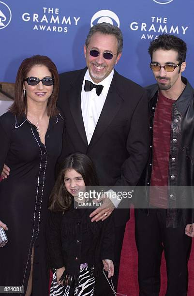Singer Gloria Estefan her husband Emilio Estefan Jr and their children Nayib and Emily Marie arrive at the 43rd Annual Grammy Awards held at Staples...