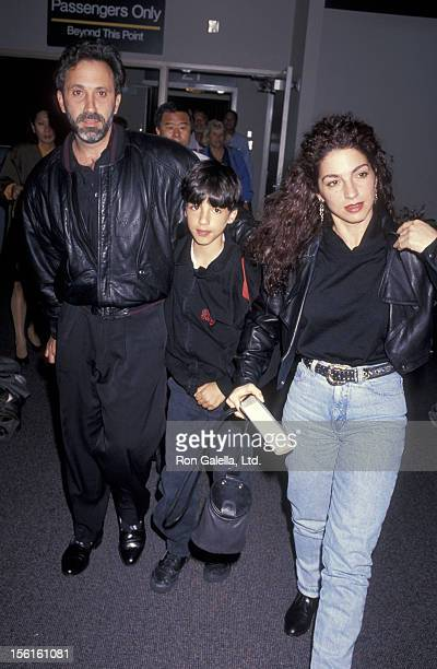 Singer Gloria Estefan husband Emilio Estefan and son Nayib Estefan being photographed on November 25 1991 at Los Angeles International Airport in Los...