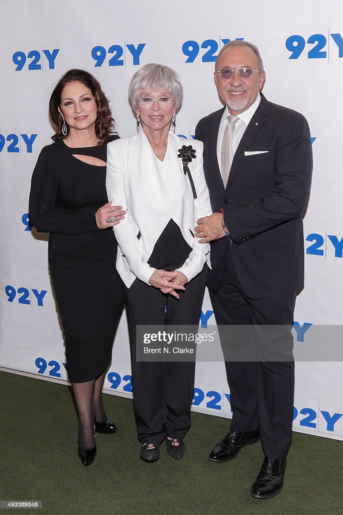 Singer Gloria Estefan, moderator Rita Moreno and musician/producer Emilio Estefan attend Gloria and Emilio Estefan In Conversation with Rita Moreno held at the 92nd Street Y on October 19, 2015 in New York City.