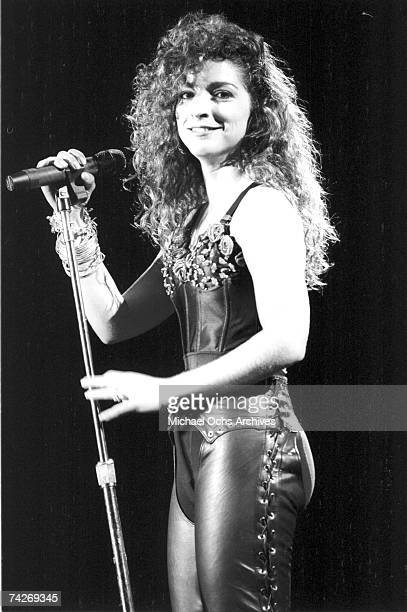 Singer Gloria Estefan of the group Miami Sound Machine performs live on August 12 1988 in Los Angeles California