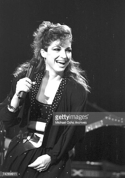 Singer Gloria Estefan of the group Miami Sound Machine performs live circa 1988 in Los Angeles California
