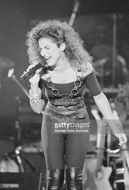 Singer Gloria Estefan of the group Miami Sound Machine performs live on August 15 1988 in Los Angeles California