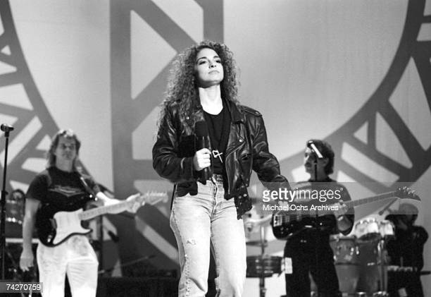 Singer Gloria Estefan of the group Miami Sound Machine performs on a TV show circa 1988 in Los Angeles California