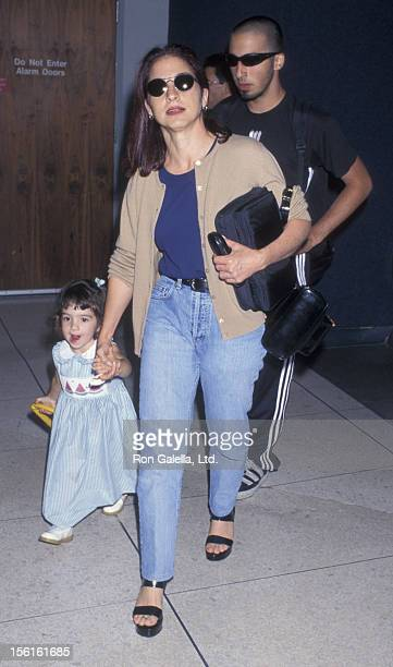 Singer Gloria Estefan son Nayib Estefan and daughter Emily Estefan being photographed on June 18 1997 at Los Angeles International Airport in Los...