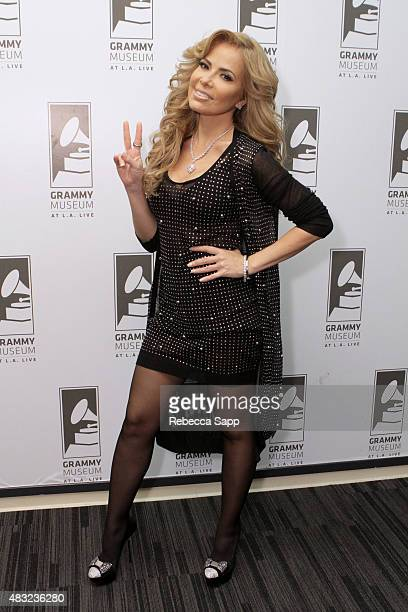 Singer Gloria Trevi attends Gloria Trevi El Amor at The GRAMMY Museum on August 6 2015 in Los Angeles California