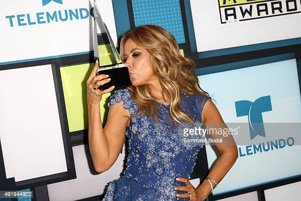 Singer Gloria Trevi poses in the press room during the Telemundo's Latin American Music Awards 2015 held at Dolby Theatre on October 8 2015 in...