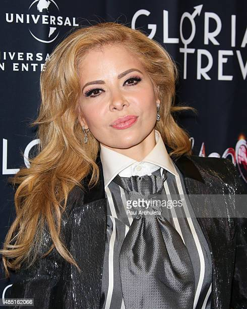 Singer Gloria Trevi signs autographs for her new album El Amor at Amoeba Music on August 24 2015 in Hollywood California