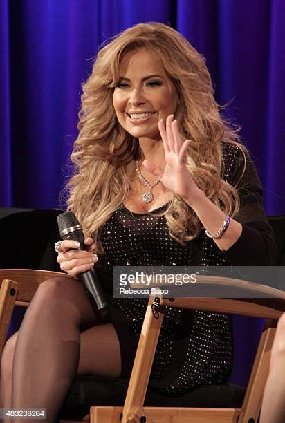 Singer Gloria Trevi speaks onstage at Gloria Trevi El Amor at The GRAMMY Museum on August 6 2015 in Los Angeles California
