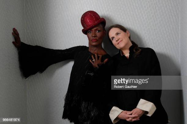 Singer Grace Jones and filmmaker Sophie Fiennes are photographed for Los Angeles Times on April 22 2018 in Beverly Hills California PUBLISHED IMAGE...