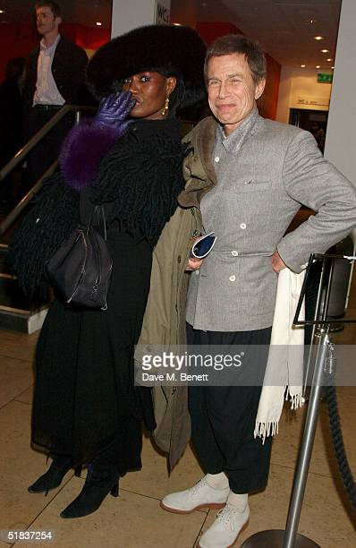 Singer Grace Jones and JeanPaul Goude attend the press night for Matthew Bourne's production of the ballet 'Swan Lake' at Sadler's Wells Theatre on...